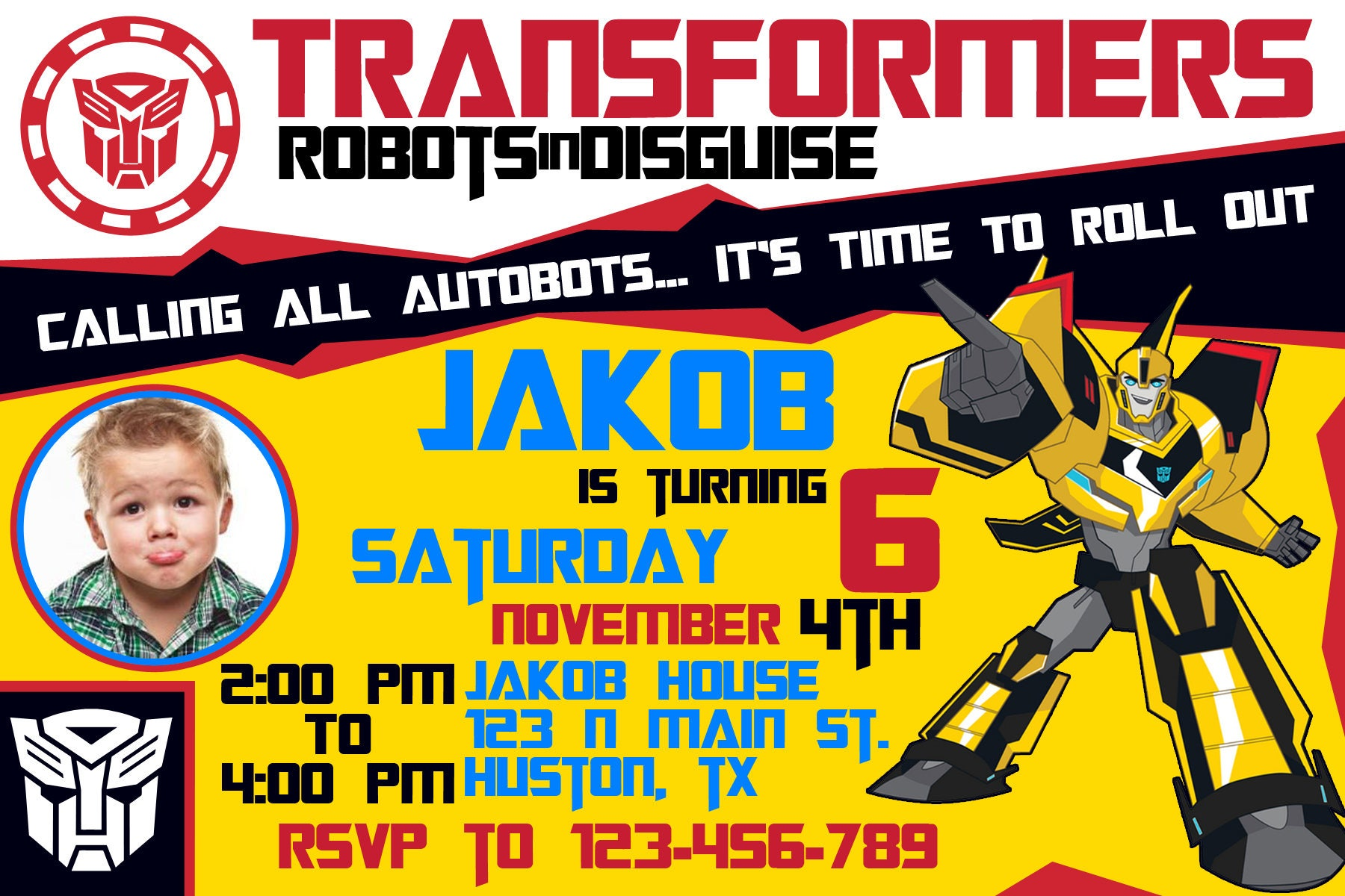 Transformers Rescue Bots Birthday Invitation, Optimus Prime ...