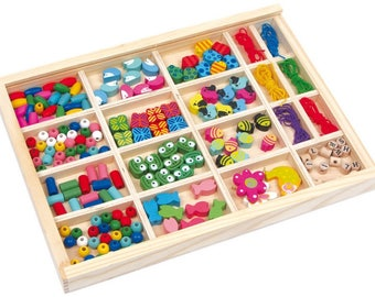 Box of kids multicolored wooden beads