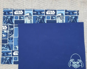2 cotton fabric Star Wars Placemats - reversible - Darth Vader - R2D2 - C3PO - Blue - Classic Starwars - Disney - hand embroidered