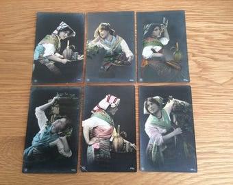 Set of 6 Edwardian beauty, Italian style, hand coloured, studio portrait photograph postcards Nos 1 2 6 7 8 11