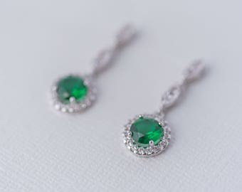 Lily Cubic Zirconia Earrings - Emerald, Drop Earrings, CZ Bridal earrings, Wedding Jewellery, Bridal Jewelry, Crystal Earrings, Dainty