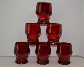 """6 Piece Cranberry Glass Tumblers, Drinking Glasses, 4""""H"""