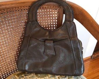 70s leather bag // Small handbag // Top handle purse