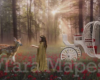 Princess in Forest with Carriage Digital Background