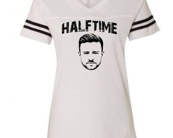 Justin Timberlake Halftime Shirt Ladies Semi-Fitted  Football Jersey Gameday V-Neck  Funny Humor Halftime Performing Tee