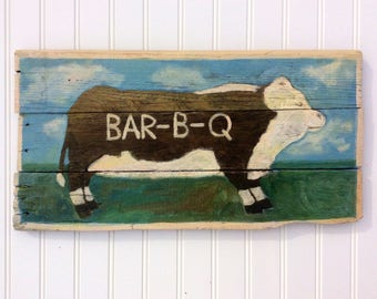 Rustic Cow BBQ Sign.Americana folk style handpainted on reclaimed wood.great for kitchen,patio or BBQ pit.