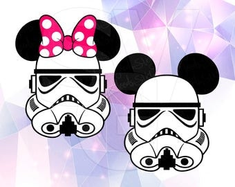 Star Wars Stormtrooper Mickey & Minnie Mouse Layered SVG DXF PNG Cricut Design Space Cameo Silhouette Vinyl Decal Cut File Stencil Template