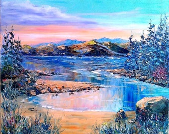 Magic Morning Oil painting on canvas palette knife wall art