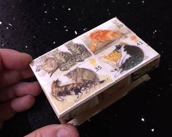 Stamp Art - Themed to suit, personalised gift, wedding/engagement ring box, Kitty pill box, key box