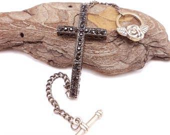 Black Cross Bracelet, Chain Link Bracelet