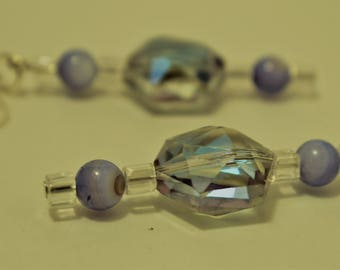 Periwinkle and Alexandrite Colored & Lucite  Earrings