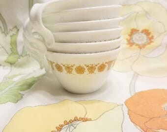 Corelle Butterfly gold flip hook cups set of 6 corning vintage 1970s retro