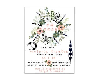 Modern boho floral baby shower digital 5x7 invitation