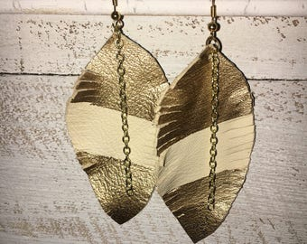 Cream & Gold Double Dipped Leather Feather Earrings