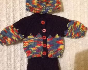 Winter outfit for any 12/15 inch and doll - hat cardigan and leggings