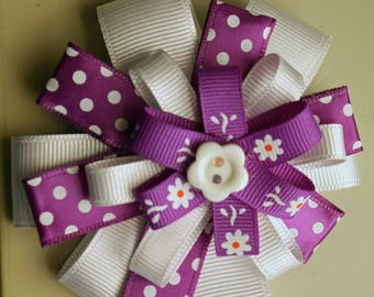 Handmade Hair Bow, Infant Toddler Girls Hair Bow, Purple and White