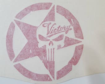 Red Victory Punisher Star Decal