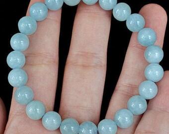 Jewelry - Aquamarine Bead Bracelet Navy 113.75 cts - Natural Aquamarine beads bracelet