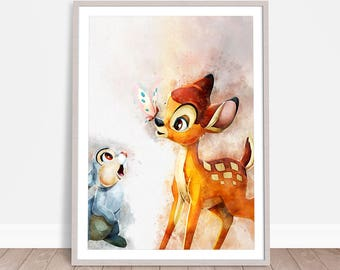 Bambi Wall Hanging, Watercolor Painting Effect, Instant Download, Digital Printable Design, Nursery Decor, Kids Wall Art, Baby Poster