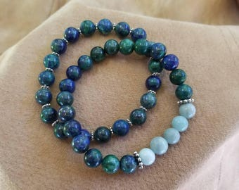 1 bracelet with Amazonite and Chrysocolla green/blue  gemstones other bracelet Chrysocolla gemstones