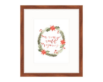 Christmas Wreath Print | Christmas Lyric Print | Watercolor Wreath Print