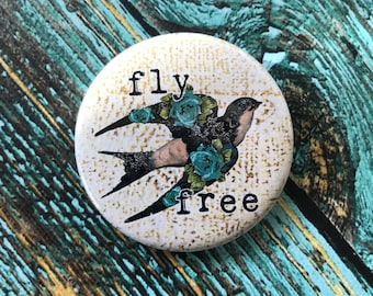 Fly Free 2.25 inch Button