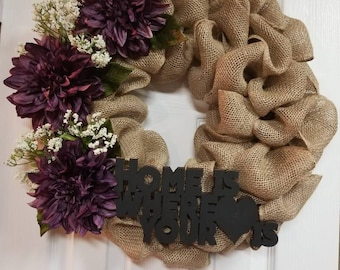 Purple Dahlia Wreath