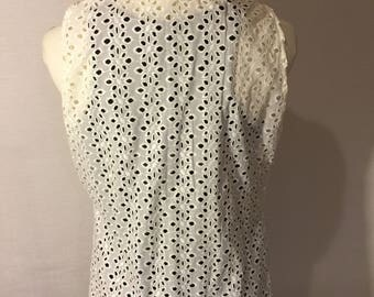 Eyelet Sleeveless Top with Cowl Neck