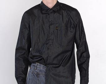 VINTAGE Black Striped Long Sleeve Button Down Retro Shirt