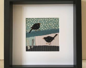 Handmade Vintage Viyella Textile Blackbird Framed Picture