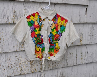 Hand Painted Button Up Cropped Top