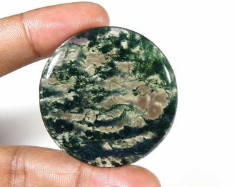 Moss Agate gemstone. Top quality~ 87 Cts. Natural Moss Agate cabochon. Round Green Moss Agate loose gemstone. Moss Agate cabochon. MX-1347