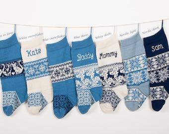 Personalized Christmas stockings, Family Christmas stocking, Blue Knitted Christmas Stockings with handmade stitching, Knit socks, Gift idea