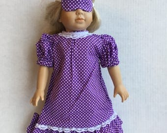 "Nightgown with eye mask for 18"" doll."