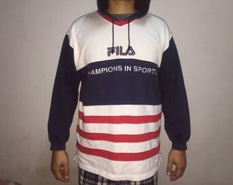 Authentic Fila Big Logo Spell Out Sweat Shirt Hoodies