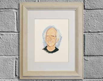 LARRY DAVID, Seinfeld, Curb Your Enthusiasm, Celebrity Portrait, TV Show Art, Fine Art Giclee Print of Original Gouache Painting