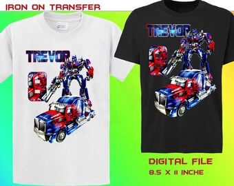Transformers Iron On Transfer, Personalize Transformers Birthday Shirt Iron On Transfer, Transformers Birthday Shirt, Digital File Only
