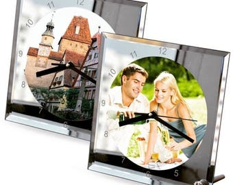 Have your own image on a lovely mirror clock 20cm x 20cm