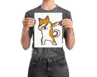 Funny Dabbing Shiba Inu Poster, Cute Shiba Inu Wall Art