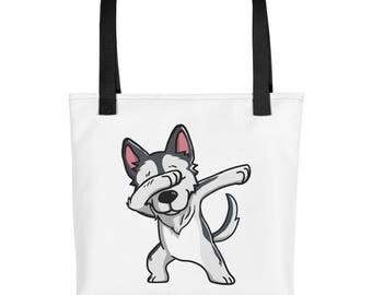 Funny Dabbing Husky Tote bag, Cute Siberian Husky Dog bag