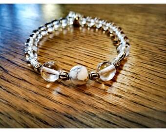 Quartz and Howlite bracelet