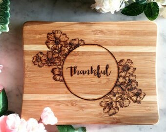 Cutting board, thankful, bar board, bar decor, kitchen decor, woodburned cutting board, cutting board design