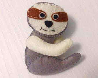 Sloth felted animal, Handmade sloth decoration, Handmade sewed sloth gift, Christmas ornament polar bear, Nursery decoration, Felt Animal