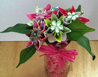 Pink with a hint of Green Paper Flower Arrangement