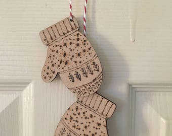 Fair isle hanging mittens