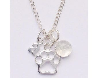 Paw prints on my heart Personalised Sterling silver & moonstone dog memory charm necklace,  rainbow bridge