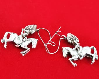 Red Indian Battling Earrings