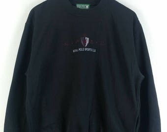 Rare!! R.P.S.C Royal Polo Sport Club Spell Out Embroided Sweatshirt Roundneck Long Sleeve Medium Size