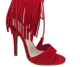 Red Fringe Heel
