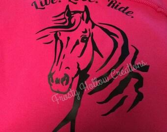 "Custom ""live, love, ride"" hooded sweatshirt, hoodie, horse, equestrian, personalized"